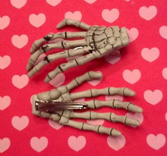 Pastel Goth Skeleton Hands Bone Hair Clips Set