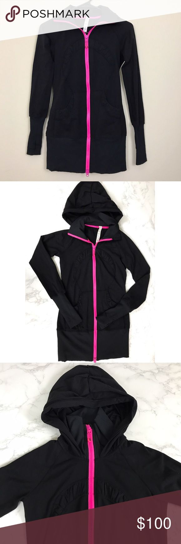 Lululemon Black Zip Up Hoodie w/ Hot Pink Zipper Size 2▪️ In excellent condition; no stains, holes, or flaws▪️Longer fit, meant to cover the bum▪️Hot Pink Zipper▪️2 front pockets and thumb holes on sleeves▪️ lululemon athletica Jackets & Coats