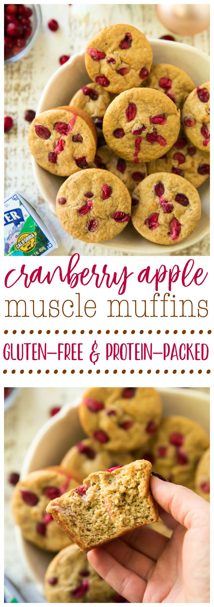 Cranberry Apple Muscle Muffins have a festive burst of flavor and plenty of protein to power your day! Gluten-free and made easy, in the blender! #AD