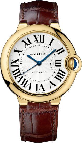 Ballon Bleu de Cartier watch 36 mm, 18K yellow gold, leather, sapphire