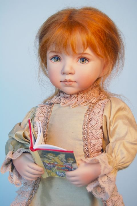 "A repin with the following text:  ""Newsletter V3, I3 2012""  -  Dianna Effner doll sculpt, wig of strawberry-blond hair, handpainted eyes #Effner #doll"