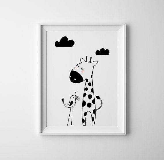 Giraffe and me art for baby nursery. toddler by BrownFoxPrints