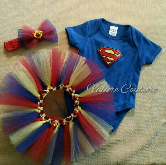 Baby Onesie Superman Super Girl Inspired Tutu by ValureCouture Newborn Infant Costume Halloween Christmas Gift Pageant Red Yellow Blue Princess Costume Pageant Birthday Dance Christmas Gift Newborn Baby Infant Toddler Youth