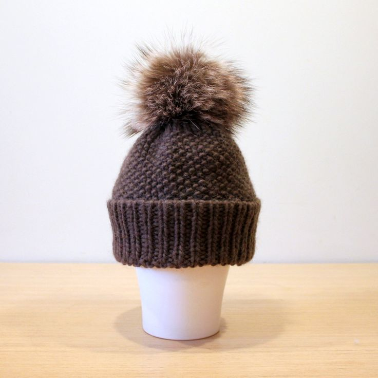 Fur pom pom hat / Wool slouchy hat / Knit hat / Chunky knit hat / Brown hat / Fur bobble hat / Recycled fur - pinned by pin4etsy.com