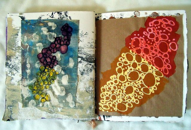 by Scrappy Annie    Mark making journal | Flickr - Photo Sharing! Gorgeous use of materials and colors