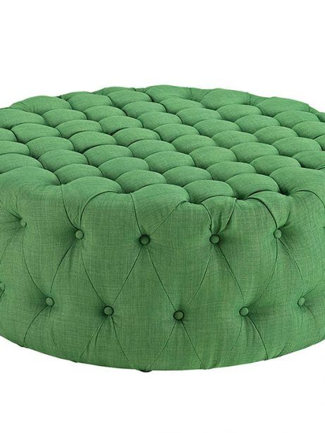 Round Tufted Fabric Ottoman   Green   Modern Furniture • Brickell Collection
