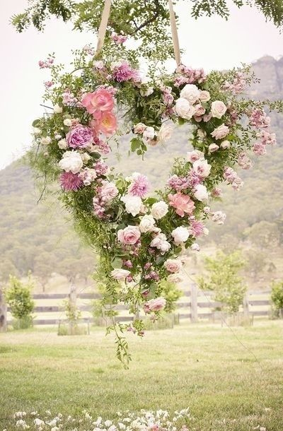 Pink and White wedding hanging flower heart- eh but for me darker for a dark fantasy vibe~