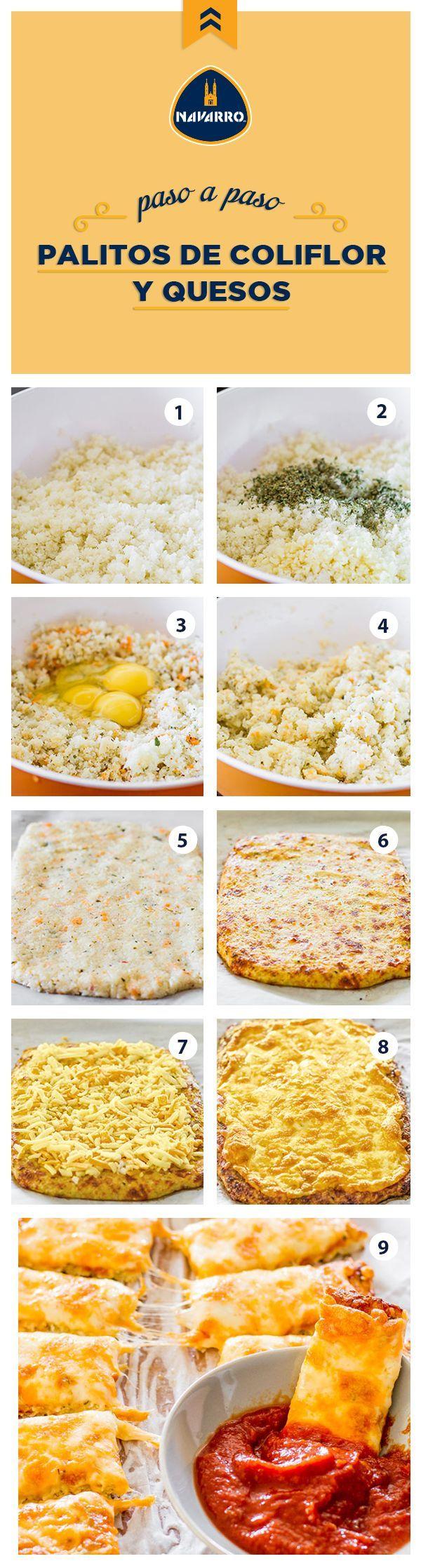 Estos palitos son una buena opción para una botanita sin carbohidratos. Tan solo necesitas: 1 coliflor grande, 4 huevos 2 tazas de una mezcla de Queso Cheddar y Queso Amarillo NAVARRO, 3 cucharaditas de orégano, 4 dientes de ajo picados y sal y pimienta al gusto. Para que tus palitos tengan una textura un poco más crujiente puedes agregar trocitos de zanahoria. | https://lomejordelaweb.es/
