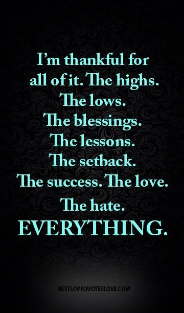 I'm thankful for all of it. The highs. The lows. The blessings. The lessons. The setback. The success. The love. The hate. EVERYTHING.
