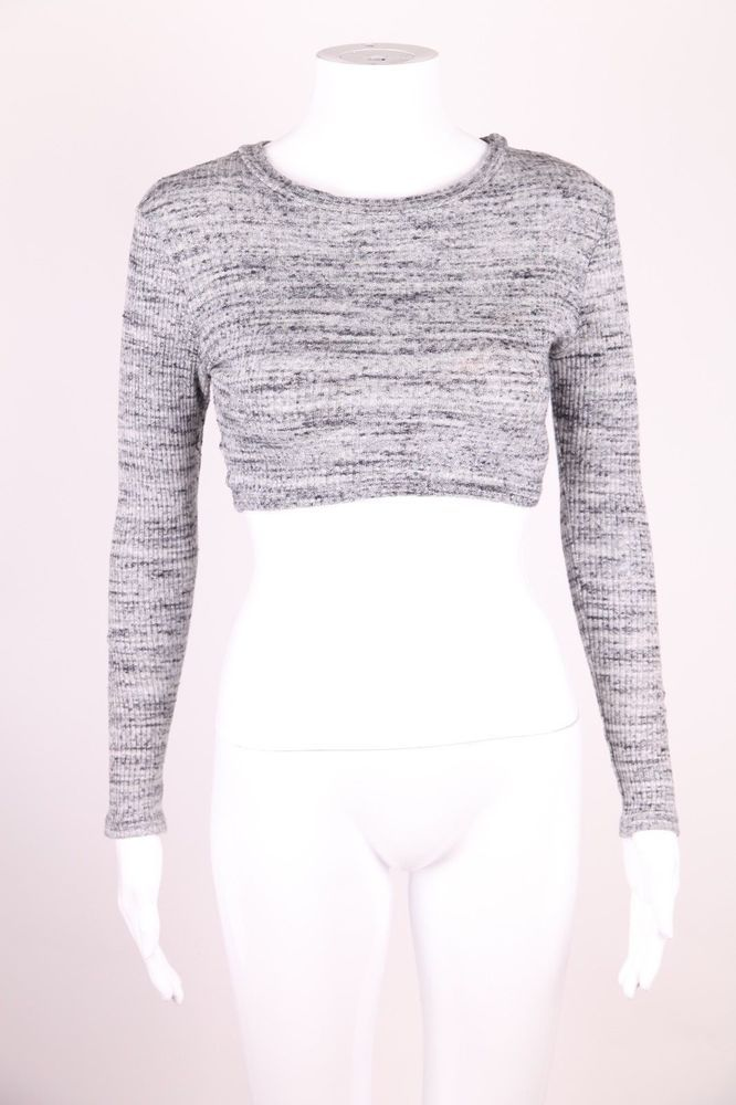 24a29e2ff0 Naked wardrobe top small gray crop long sleeve