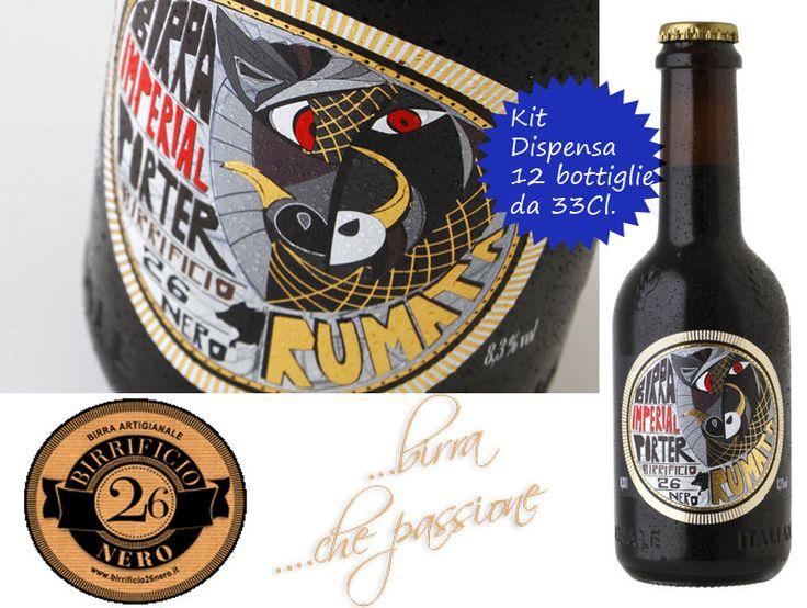 12 bottiglie da 33Cl. Birra Rumata del Birrificio Toscano 26 Nero -