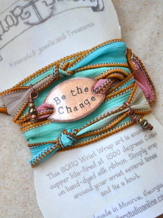 Boho Silk Wrap Bracelet- BE THE CHANGE- yoga wrap- ribbon bracelet- shabby chic
