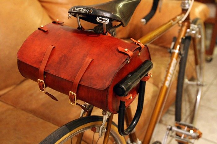 Large leather bicycle saddle bag by bygonebicyclist on Etsy