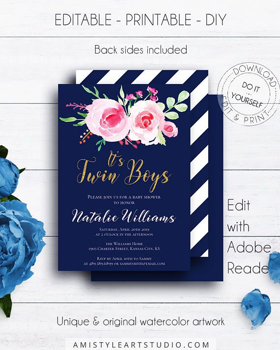Navy Blue It's Twin Boys Invite, with pretty and lovely watercolor flowery design on navy blue background in vintage and chic style.This charming twin boys baby shower invite template listing is for an instant download EDITABLE PDF so you can download it right away, DIY edit and print it at home or at your local copy shop by Amistyle Art Studio on Etsy