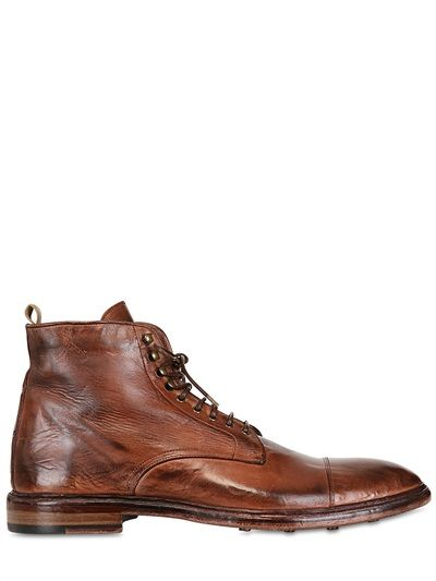 OFFICINE CREATIVE - WASHED LEATHER LACE-UP LOW BOOTS - LUISAVIAROMA