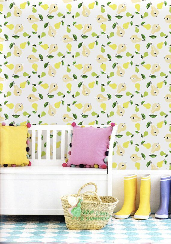 Pears Removable Wallpaper Yellow Wall Mural Reusable Etsy Removable Wallpaper Yellow Walls Removable Wall Murals