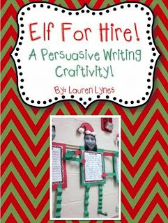 Elf for Hire Persuasive Writing craftivity! **ON SALE THROUGH 10/6**