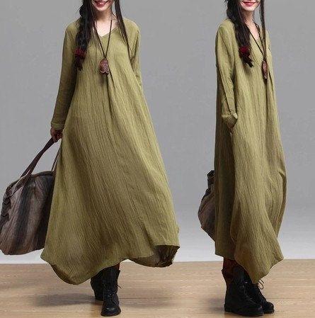2-color Loose fitting Maxi dress Linen dress Cotton dress Irregularskirt Long sleeve blouse -Spring, Autumn for Women (392)