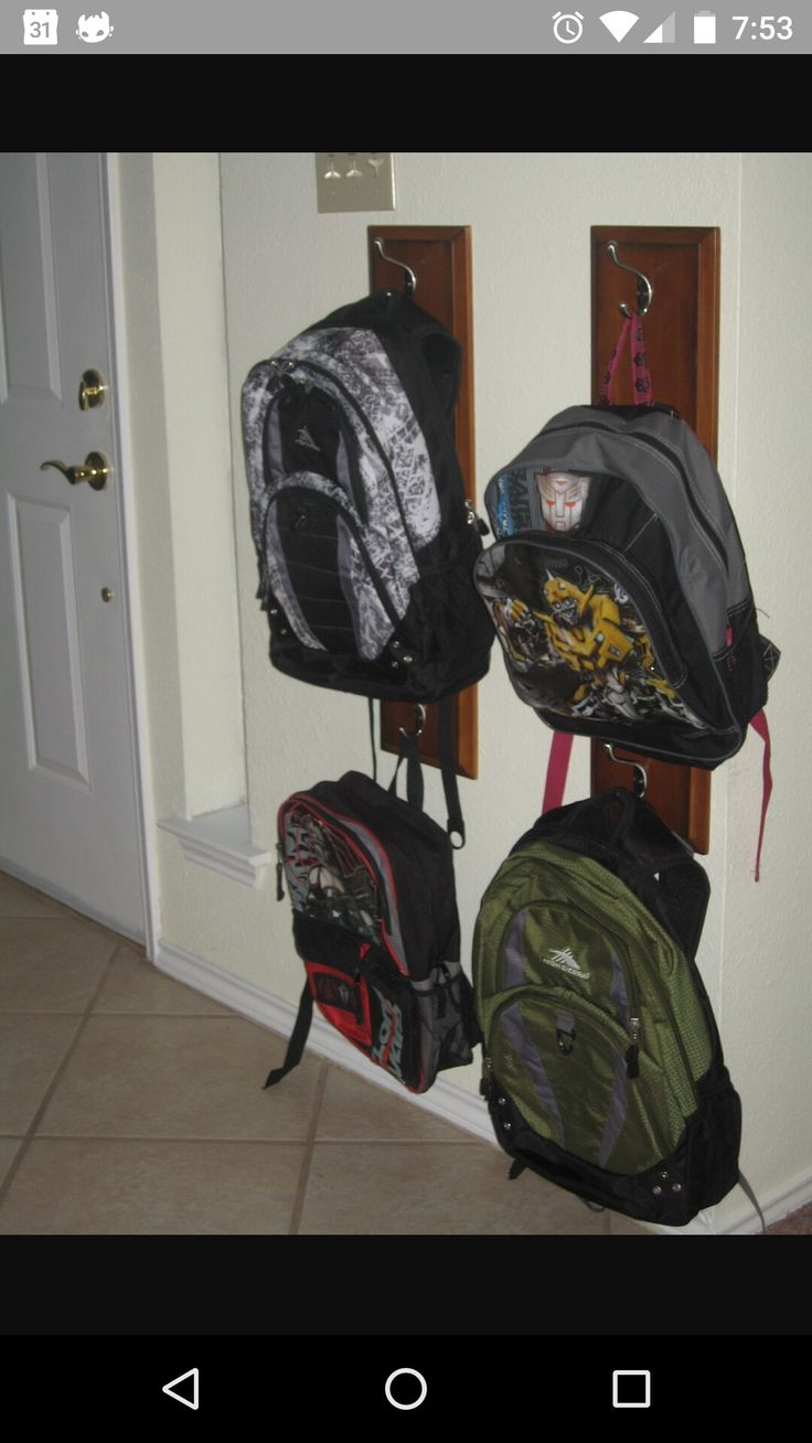 Backpack hanging ideas  Home Decor  Backpack hanger Backpack storage Backpack organization