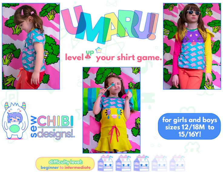 The Umaru Shirt PDF Pattern by Sew Chibi Designs is a relaxed, fit t-shirt pattern for all! From basic to completely kawaii; little toddler 12/18M all the way up to 16Y, long, short, and sleeveless options for all seasons, and a plethora of customizations, there are over 9,000 different ways to make it! 😱 It just might be the only t-shirt pattern you'll ever need!
