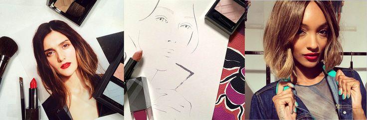 BURBERRY BEAUTY  Presentando el look de maquillaje  de Los Pájaros y Las Abejas, con destellos iridiscentes, ojos rojizos con tonos nude y labios rojo rubí.  Ver el prestreno  de los tonos de esmalte para uñas  en azul, verde, azalea y rosados hortensia.