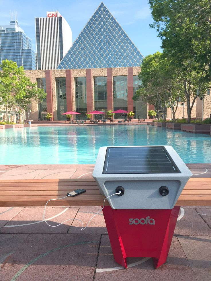 Edmonton is the first Canadian City to install solar powered charging benches, known as Soofas. These bench can charge mobile devices and have environmental monitoring equipment inside of them.