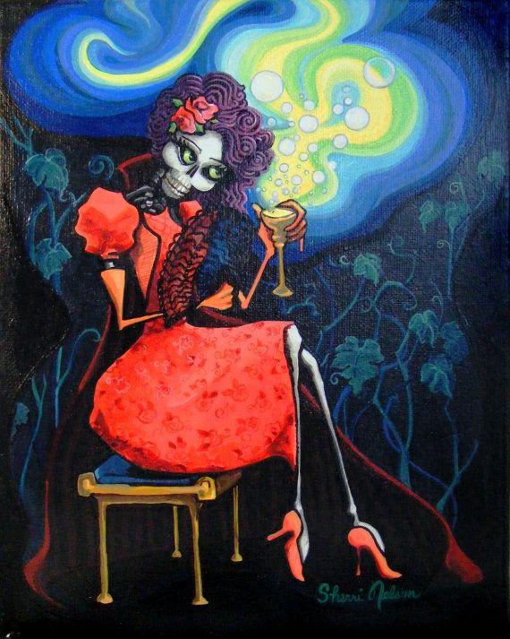 Day of the Dead Art Print  La Catrina Scarlet  Love by BonesNelson, $12.50