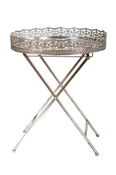 Kulatý přídavný stolek se zrcadlovým tácem