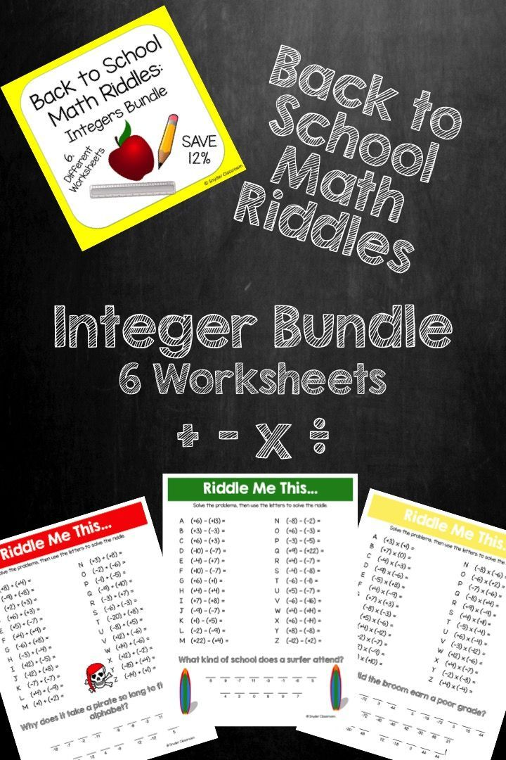 61 best homeschool math images on pinterest school homeschooling back to school integers math riddles fandeluxe Image collections