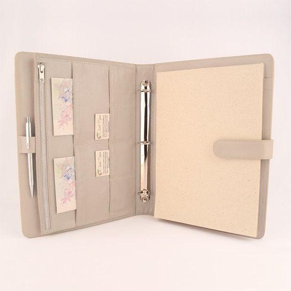 Sophisticated A4 genuine leather Ring Binder PadFolio, designed for a right handed person, has plenty of pockets to hold your loose leaf paper, top