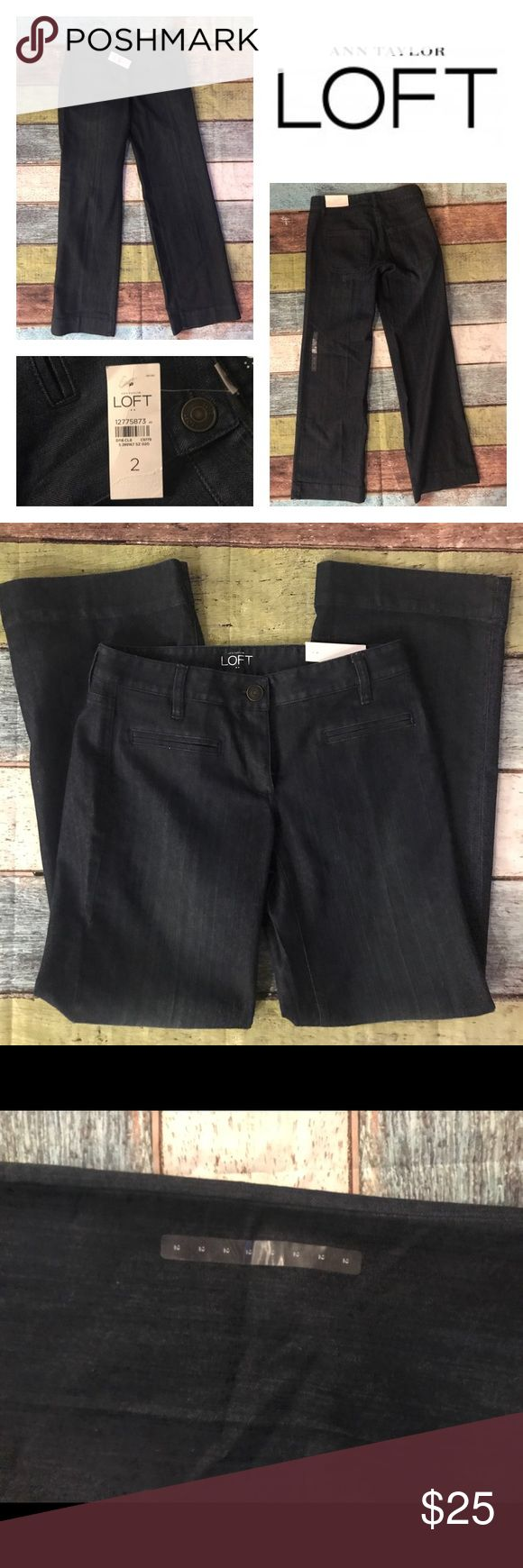 """Ann Taylor LOFT Curvy Trouser Fit Jeans Sz 2 NEW!! Ann Taylor LOFT Women's Jeans Curvy Trouser Fit Curved Through Hip & Thigh Dark Wash Sz 2 85% Cotton / 14% Polyester / 1% Spandex  All Measurements Done With Item Laying Flat: Waist: 15"""" Hips: 17"""" Rise: 8"""" Inseam: 32.5"""" LOFT Jeans"""