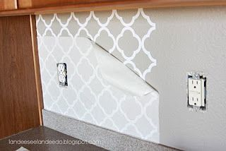Vinyl backsplash! This is so cheap and looks so good! You can buy the vinyl on etsy.