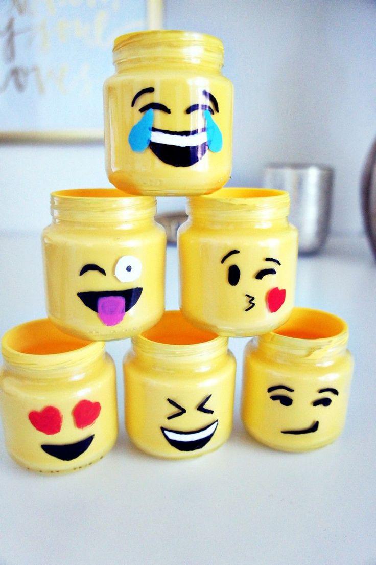 Emoji mason jars, emoji, baby food jar crafts, crafts, diy, our messy table