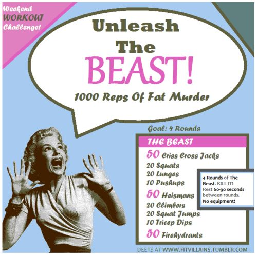 One of my favorites! It's tough, but do-able. Prepare to get sweaty. :) Deets and modifications here: http://fitvillains.tumblr.com/post/17436139340/unleash-the-beast-1000-rep-weekend-workout-challenge
