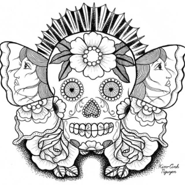 Sugar skull butterfly tattoo idea | Skull coloring pages ...