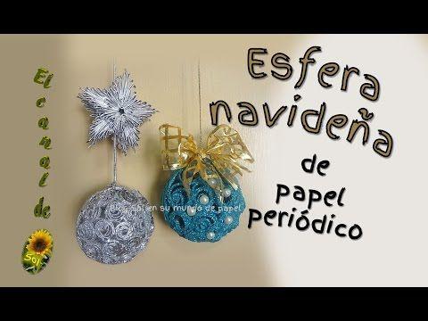 Esfera navideña hecha con papel periódico - YouTube