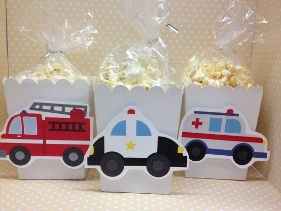 Emergency Vehicles Party Popcorn or Favor Boxes  by PartyByDrake