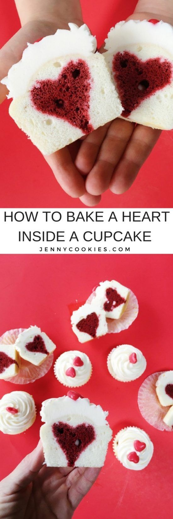 How to Bake a Heart Inside a Cupcake | heart cupcake tutorial | heart cupcake recipes | Valentine's Day cupcake recipes | easy cupcake tutorials | heart inspired dessert recipes || JennyCookies.com #heartcupcakes #valentinesday #caketips