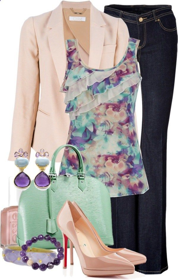 spring blazer and ruffled tank by meganpearl on Polyvore