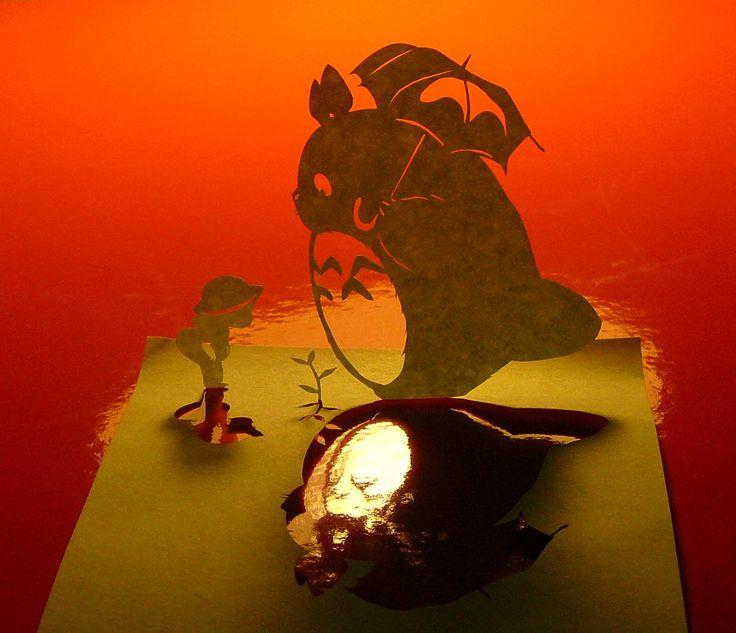Paper cutouts by Akira Nagaya | ジブリはいいね! ポストイットで切り絵の画像 - 切り絵の世界