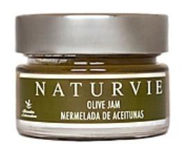 NaturVie || Mermelada de Aceitunas. Es un producto 100% artesanal cuyos ingredientes básicos son las aceitunas y el azúcar.    Tarro de cristal Glass Jar de 150 Gr.  Caja con 18 Unidades.