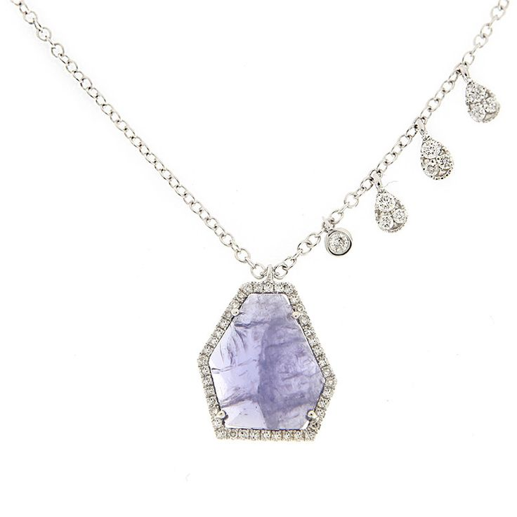Gold, Diamond & Tanzanite Necklace with Pave Charms