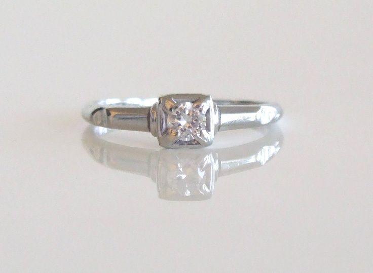 18k White Gold Vintage Engagement Ring Amp By IrisJewelsonEtsy 63900