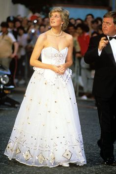 "HRH Princess Diana looking so beautiful in this David & Elizabeth Emanuel's "" fairytale"" gown 1986. The princess wore it to three different outings. Here she's wearing it the premier of James Bond ""The Living Daylights."""