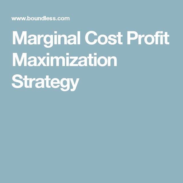 Marginal Cost Profit Maximization Strategy