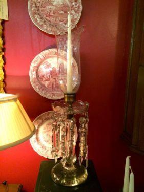 "1940's Lead Crystal Candle Holder  23"" Tall   6"" Prisms  $350  Butler Creek Antiques Dealer #8804 in Lucas Street Antiques 2023 Lucas Dr. Da..."