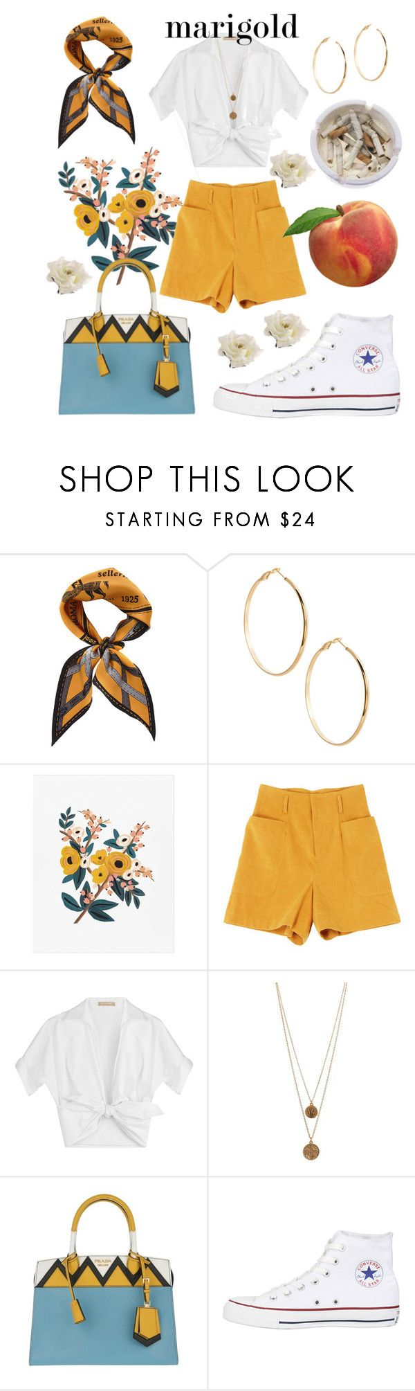 """""""marigold"""" by iamlwiz ❤ liked on Polyvore featuring Fendi, GUESS by Marciano, Michael Kors, Bee Charming, Prada, Converse and Ash"""