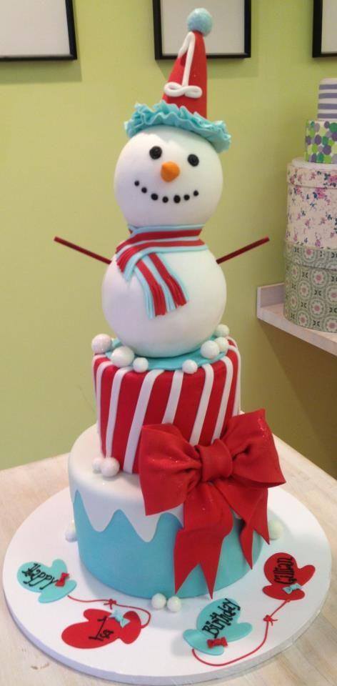 Snowman cake - Vanilla Pastry Studio..love the mittens