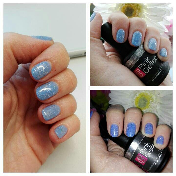 Frozen nails. Elite99 BU004 and Pink Gellac diamond silver.
