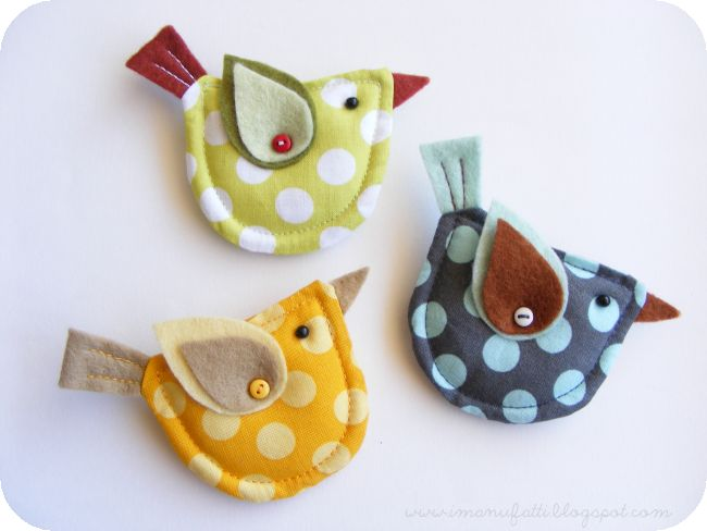 Felt & fabric bird brooches: